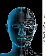 osoba, hlavička, průhledný