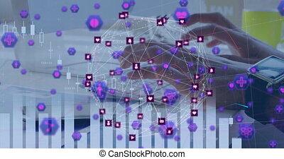 osoba, interfejs, ikony, połączenie, cyfrowy, sieć, formując...
