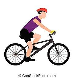 osoba, jezdit na kole, osamocený, ikona, jízdní