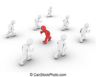 osoba, kierunek, inny, wyścigi, przeciwległy
