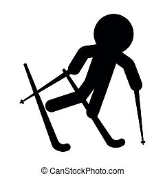 osoba, narciarstwo, odizolowany, ikona