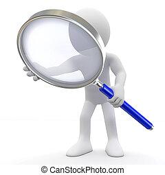 osoba nehledě k magnifying glass