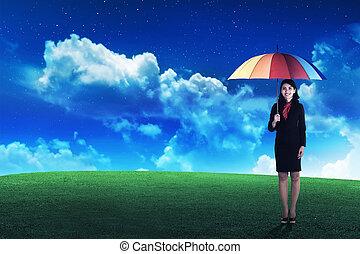 osoba, parasol, handlowy, dzierżawa