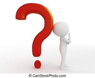 osoba, -, pytanie, 3d, marka