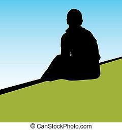 osoba, samotny