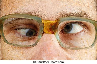 osoba, staromodny, okular, kosooki