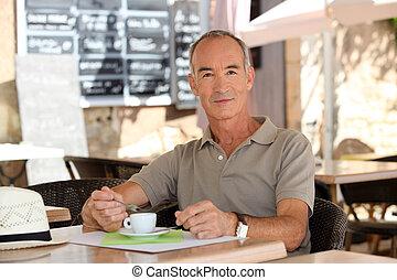 osoba vypít káva, mimo, jeden, výčep