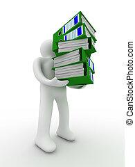 osoba, z, uważając, folders., odizolowany, 3d, wizerunek