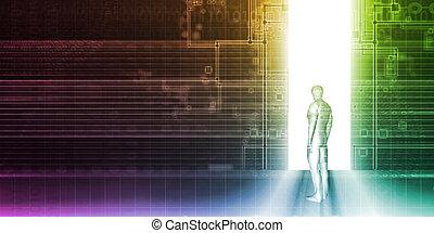 osoba zastaven, před, technika, portál