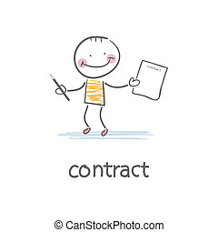 osoba, znaki, illustration., contract.