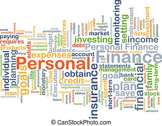 osobisty, pojęcie, finanse, tło