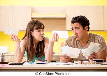 osobisty, szarpanie, finanse, rodzina, młody