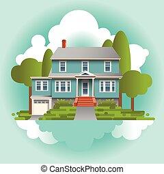 osobliwy, stylizowany, dom