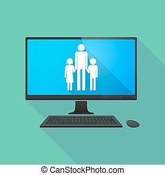 osobní počítač, s, jeden, mužský, svobodný původ rodinný, piktogram
