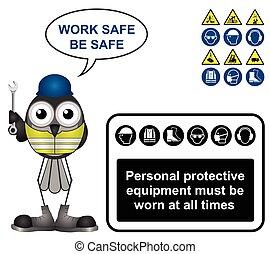osobní, vybavení, ochrana, čerň