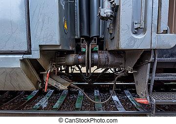 osobowy pociąg, prospekt, szczegół, coupler
