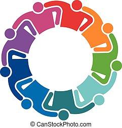 osoby, dziewięć, grupa, logo., ludzie