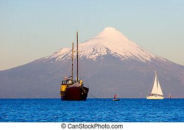Sunset on Osorno Volcano, Chile, South America.