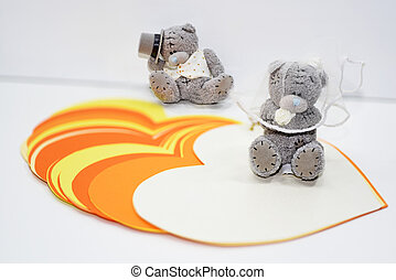 osos, abstracción, boda, dos,  teddy