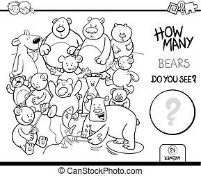 osos, colorido, contar, libro, actividad