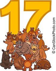 osos, diecisiete, grupo, número, caricatura