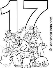 osos, divertido, diecisiete, grupo, número