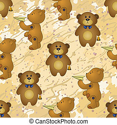 osos, juguetes, seamless, patrón, teddy