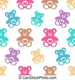 osos, patrón, seamless, teddy