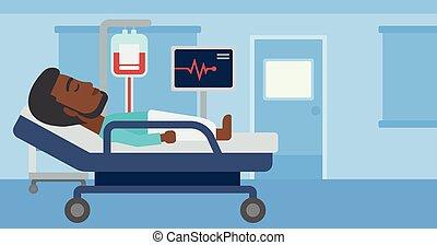 ospedale, bed., dire bugie, uomo