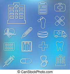 ospedale, contorno, icone