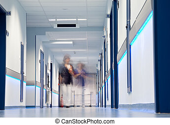 ospedale, figure, corridoio, sfocato