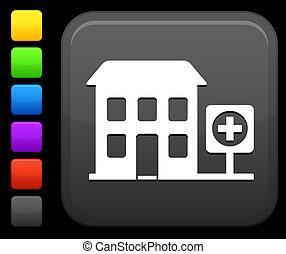 ospedale, icona, su, quadrato, internet, bottone