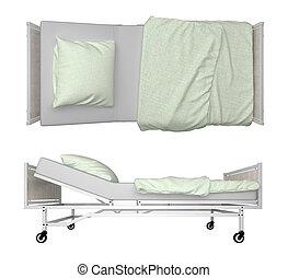 ospedale, isolato, letto, interpretazione, bianco, 3d