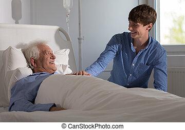 ospedale, nonno, nipote, visitare