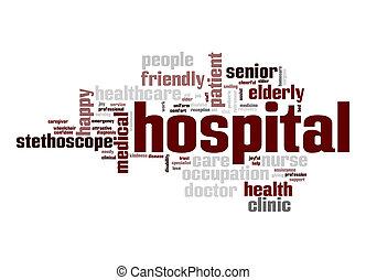 ospedale, parola, nuvola