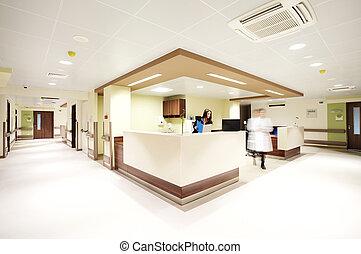 ospedale, ricezione, corridoio