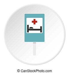 ospedale, segnale stradale, icona, cerchio