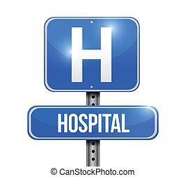 ospedale, segno strada, illustrazione, disegno
