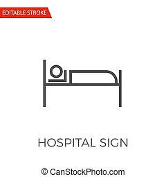 ospedale, segno, vettore, icona