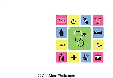 ospedale, set, icone