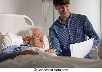 ospizio, nonno, nipote, visitare