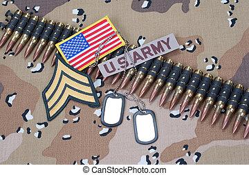 oss armé, begrepp, på, kamouflage, likformig