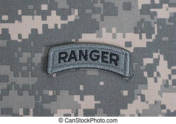 oss armé, skogvaktare, flik, på, kamouflage, likformig