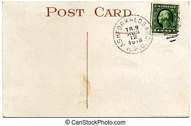 oss, vykort, cent, 1, stämpel, franklin, 1916