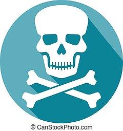 ossa, appartamento, cranio, icona