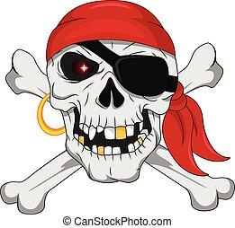 ossa, attraversato, pirata, cranio