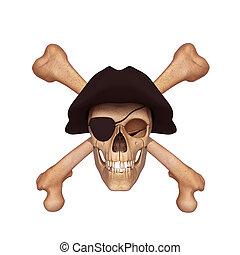 ossa, berretto, cranio umano