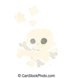 ossa, mucchio, retro, cartone animato
