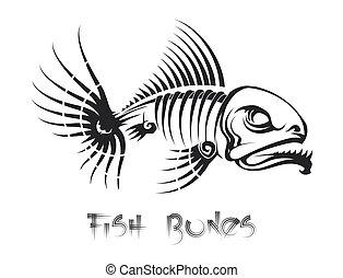 ossa, tatuaggio, fish