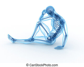 ossa, visibile, maschio, seduta